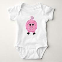 Pink Pig Baby Bodysuit