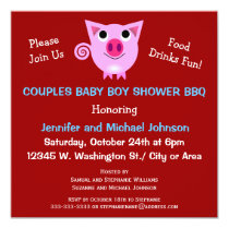 Pink Pig BBQ Couples Baby Shower Boy or Neutral Invitation