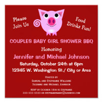 Pink Pig BBQ Couples Baby Shower Girl or Neutral Invitation
