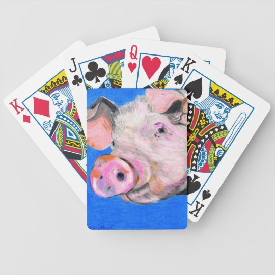 Pink Pig Bicycle Playing Cards