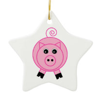 Pink Pig Ceramic Ornament