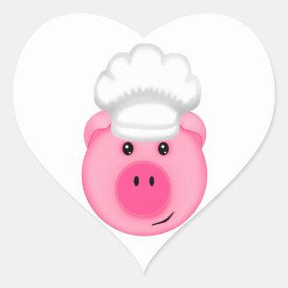 Pink Pig Chef Heart Sticker
