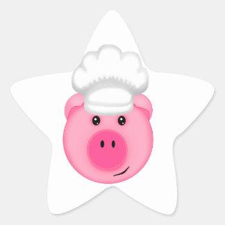Pink Pig Chef Star Sticker