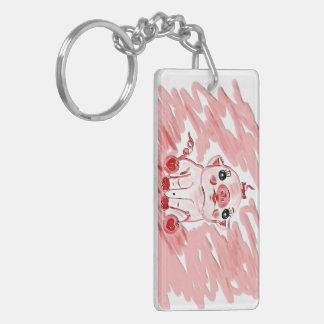 pink pig double sided key chain