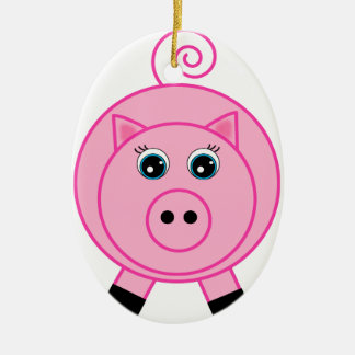 Pink Pig Double-Sided Oval Ceramic Christmas Ornament