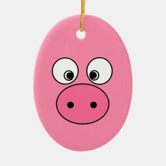 Pink Pig Face and Bum! Ceramic Ornament