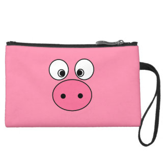 Pink Pig Face and Bum Wristlet Clutch