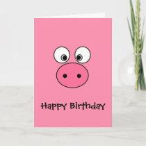 Pink Pig Face Card