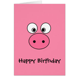 Pink Pig Face Greeting Card