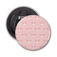 Pink Pig Face Pattern Button Bottle Opener