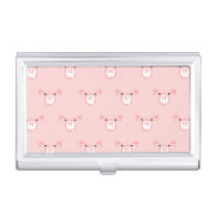 Pink Pig Face Pattern Case For Business Cards