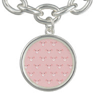 Pink Pig Face Pattern Charm Bracelet