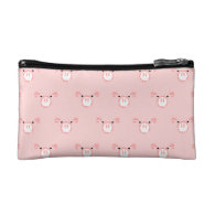 Pink Pig Face Pattern Cosmetics Bags