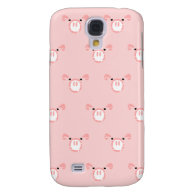 Pink Pig Face Pattern Galaxy S4 Cover