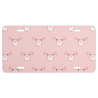 Pink Pig Face Pattern License Plate