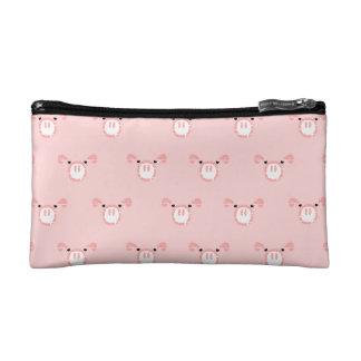 Pink Pig Face Pattern Makeup Bag