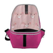 Pink Pig Face Pattern Messenger Bag