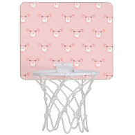 Pink Pig Face Pattern Mini Basketball Hoops