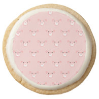 Pink Pig Face Pattern Round Premium Shortbread Cookie