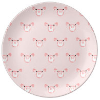 Pink Pig Face Pattern Porcelain Plate