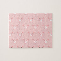 Pink Pig Face Pattern Puzzle
