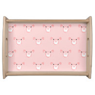 Pink Pig Face Pattern Service Tray