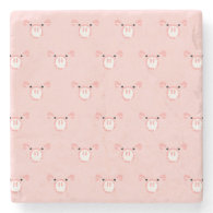 Pink Pig Face Pattern Stone Coaster
