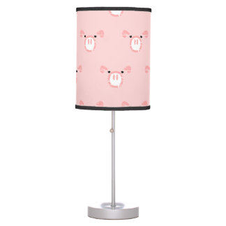 Pink Pig Face Pattern Table Lamp