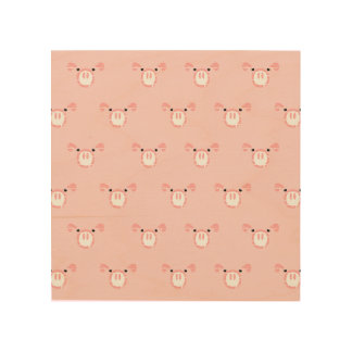 Pink Pig Face Pattern Wood Wall Decor