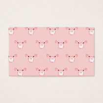 Pink Pig Face Repeating Pattern Business Card
