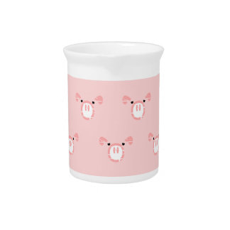 Pink Pig Face Repeating Pattern Drink Pitcher