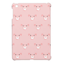 Pink Pig Face Repeating Pattern iPad Mini Cover