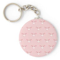 Pink Pig Face Repeating Pattern Keychain
