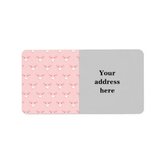 Pink Pig Face Repeating Pattern Label