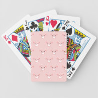 Pink Pig Face Repeating Pattern Poker Deck