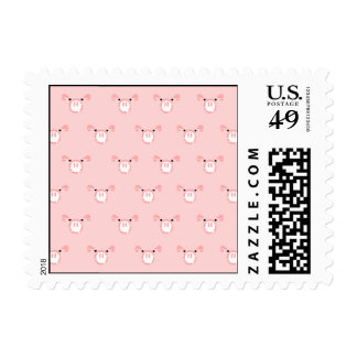 Pink Pig Face Repeating Pattern Postage