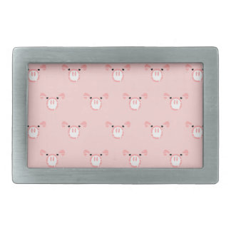 Pink Pig Face Repeating Pattern Rectangular Belt Buckle