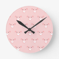Pink Pig Face Repeating Pattern Round Wallclock