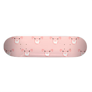 Pink Pig Face Repeating Pattern Skateboard Deck