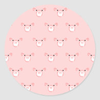 Pink Pig Face Repeating Pattern Sticker