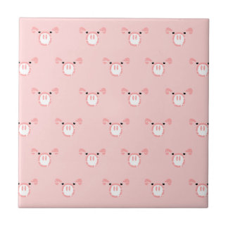 Pink Pig Face Repeating Pattern Tile