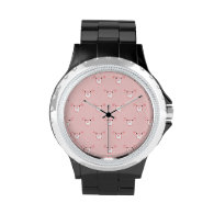 Pink Pig Face Repeating Pattern Watch