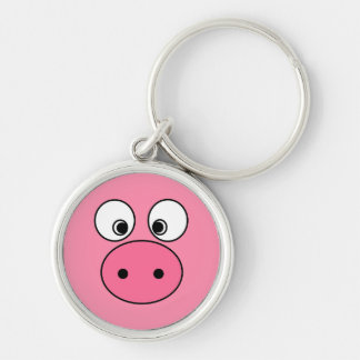 Pink Pig Face Silver-Colored Round Keychain