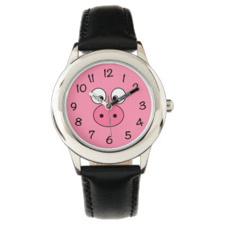 Pink Pig Face Watch