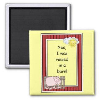 Pink Pig - Farmyard Barnyard Friend - Kids 2 Inch Square Magnet