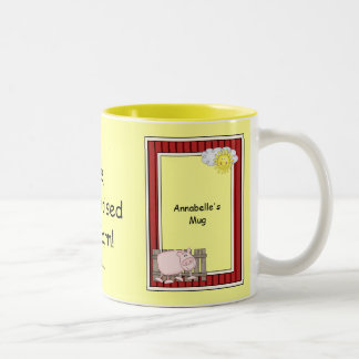 Pink Pig - Farmyard Barnyard Friend - Kids Two-Tone Coffee Mug