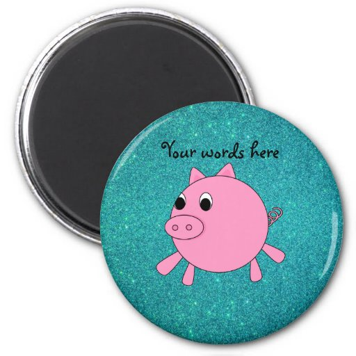 Pink pig faux turquoise glitter 2 inch round magnet