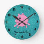 Pink pig faux turquoise glitter clock