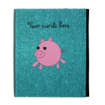 Pink pig faux turquoise glitter iPad folio case