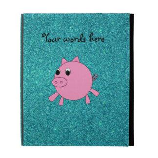 Pink pig faux turquoise glitter iPad folio case